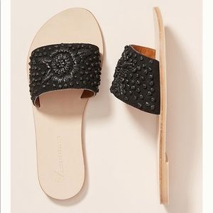NIB Anthropologie Black Embroidered Slide Sandals